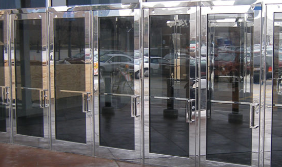 Brass And Stainless Steel Clad Doors glass